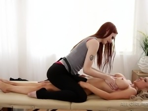 dirty masseuse giving extra service to her client's boobs & pussy