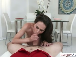 Leggy raven haired chick McKenzie Lee rides massive bonker and then sucks it...