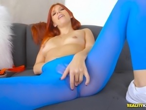 Petite redhead allowing the bald stallion to screw her hard and deep