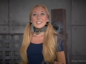 Amazing little blonde tortured by horny men in their basement