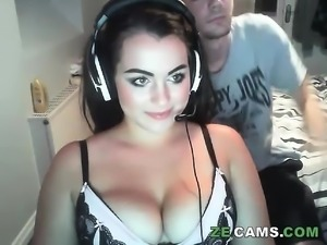 Nasty pigtail brunette big boobs like blowjob