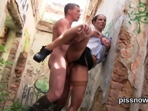 Blown away looker in underwear is geeting pissed on and poun
