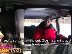 Female Fake Taxi Sexy driver suck and fucks fare to get even