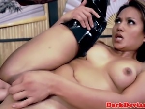 Dominated asian deepthroats then plowed rough