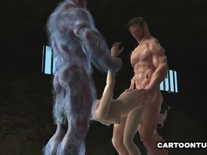 Sexy 3D cartoon babe gets fucked hard by two mutants