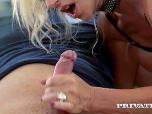 Extremely hot blond haired cougar in latex bra Marina Beaulieu sucks hard...