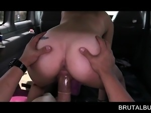 Fine ass brunette banged doggy style in the bus