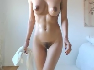 Hot babe big boobs tits dark nipples hairy cameltoe pussy