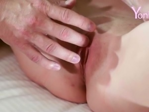 Sensual fingering session for an adoring blonde woman