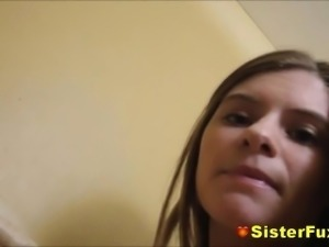 Teen Sister Slurping On Her Brothers Big Fat Tool