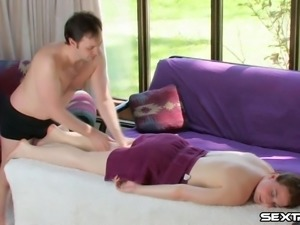 Adorable brunette enjoys an oily massage with a happy ending