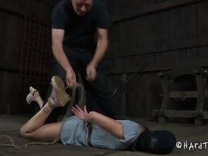 Closeup shoot of bondage damsel enjoying toy in BDSM