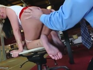 Sexy secretary Alena Croft fucked bad right in the office