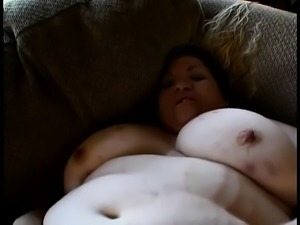 Chubby lady with huge breasts has a hard dick making her peach happy