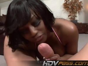 Ebony Babe Jada Fire Sucking a Big Cock Blowjob