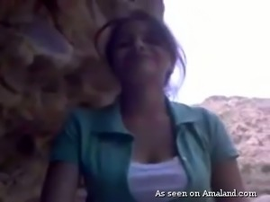 Cute amateur Indian girlfriend rides dick outdoors on POV tape