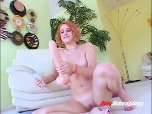 Wild ginger slut Addie Juniper slams her kitty with big dildos hard