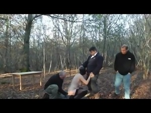 Slut Wife in Forest Gangbang Full Rubber Hooded