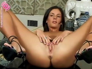 Alluring woman's fingers make her hairy pussy dripping wet