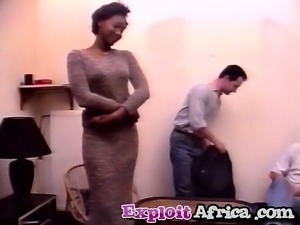 Amateur black wife in hardcore cuckold threesome