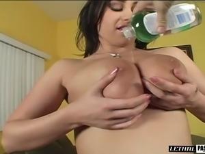 Titty fucking a fat schlong before getting it inside her juicy muff