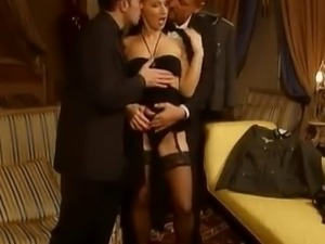 Hot girl in stockings gets pounded in all holes by two men