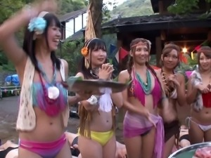 Japanese outdoor costume party with a lot of fucking involved