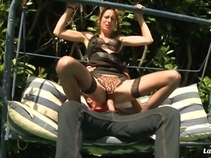 Seduced into sucking and anally fucking on a swing outdoors