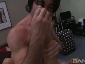 Tasty looking blond MILF Sue Diamond sucks her man off after stout sideways...