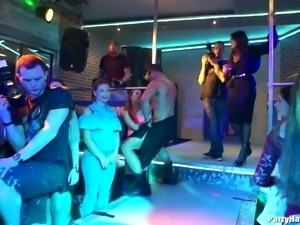Randy girls dance with handsome stallions at a great party