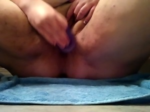 Nasty BBW granny poking wet vagina with big sex toy
