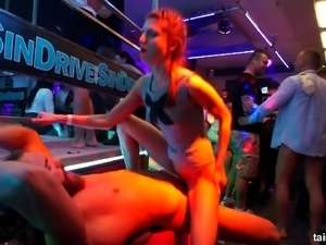Slutty babes find big dicks to suck and put in pussies during an orgy