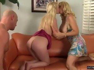 Boobalicious blond mommy Charlee Chase shares hard cock with yummy GF