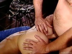 Curvaceous curly haired MILF Kathleen Gentry gets her anus drilled in doggy...