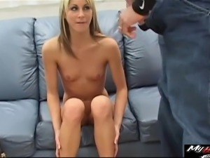 Shy girl has a blast while being ravished by two massive BBCs