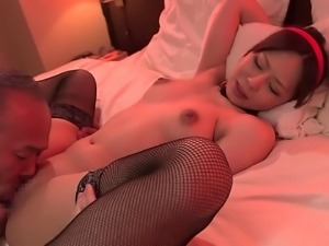 Small tits doll enjoying her pussy getting licked lovely