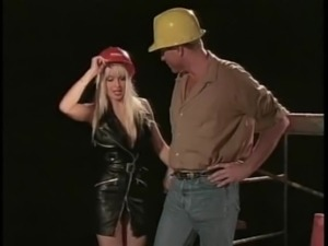 Construction worker gets lucky with a hot blonde who craves a cock