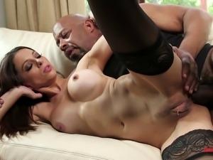 Black monster member for a fortunate brunette's horny hole