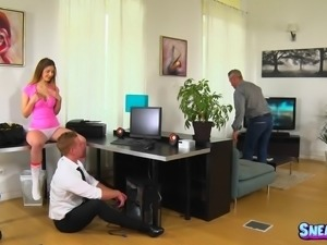 Hot ass dame in socks spreading legs getting throbbed doggystyle