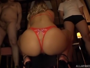 Alluring blonde Asian babe competently handles numerous dicks