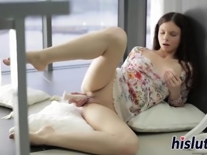 Luscious cutie with curly hair loves masturbating