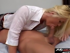 Naughty blonde's tight anal hole filled with a sticky love juice