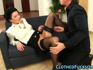 Cum mouthed clothed euro
