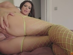 Leggy raven haired cutie in fancy yellow fishnets Alexa Tomas gets banged in...