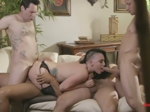 Well graced punk harlot in sexy stockings Rachael Madori gets gang banged tough