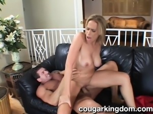 Insatiable blonde wife strips off her clothes and fucks a huge stick