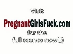 Nasty pregnant slut got her pussy pounded by senior guy