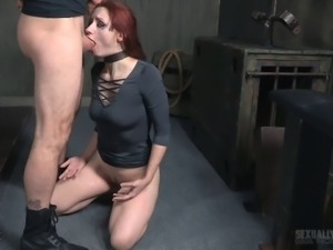 Stunning redhead woman enjoys a fat prick between her lips