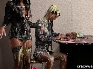 Business babes get wet and messy catfight