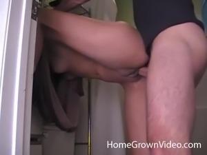 Lady masturbates in a bathroom before riding a fat boner